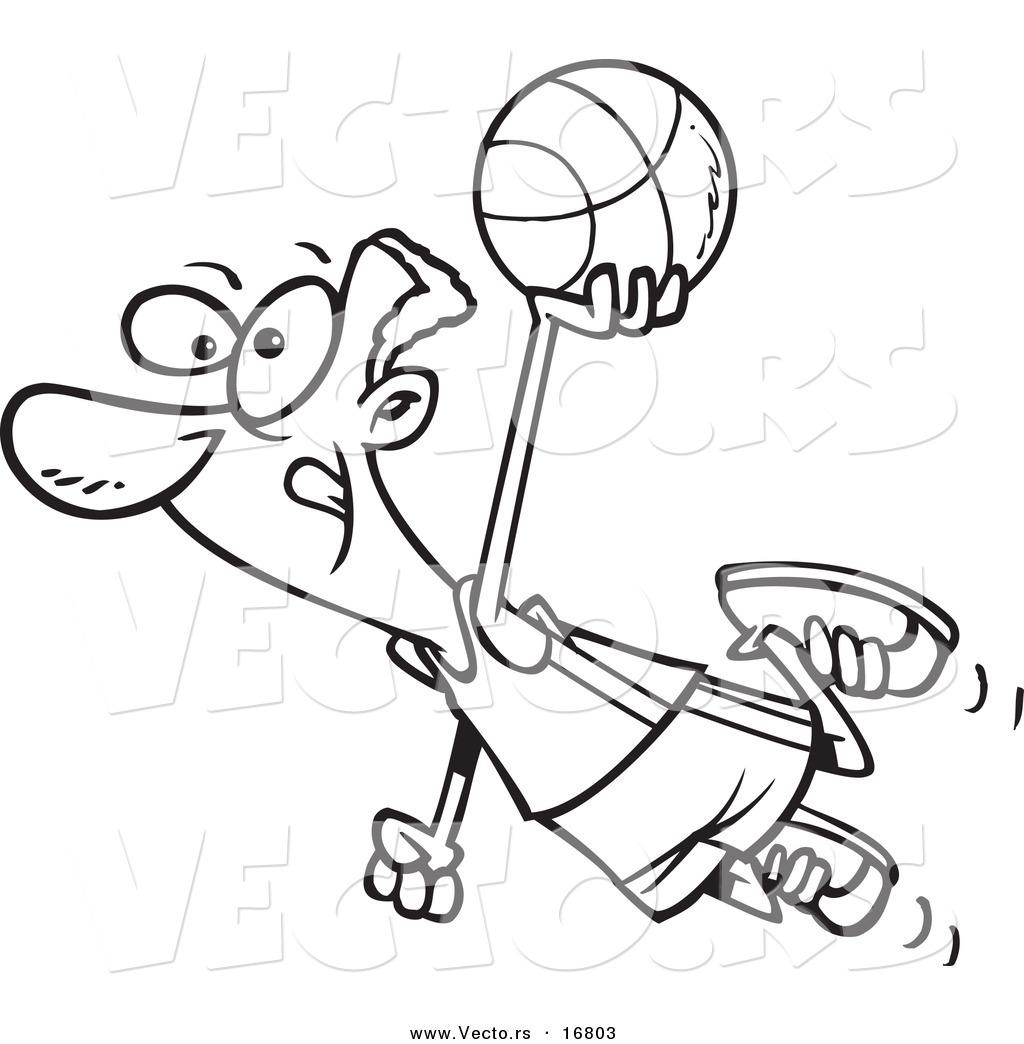 Vector Of A Cartoon Black Basketball Player Flying