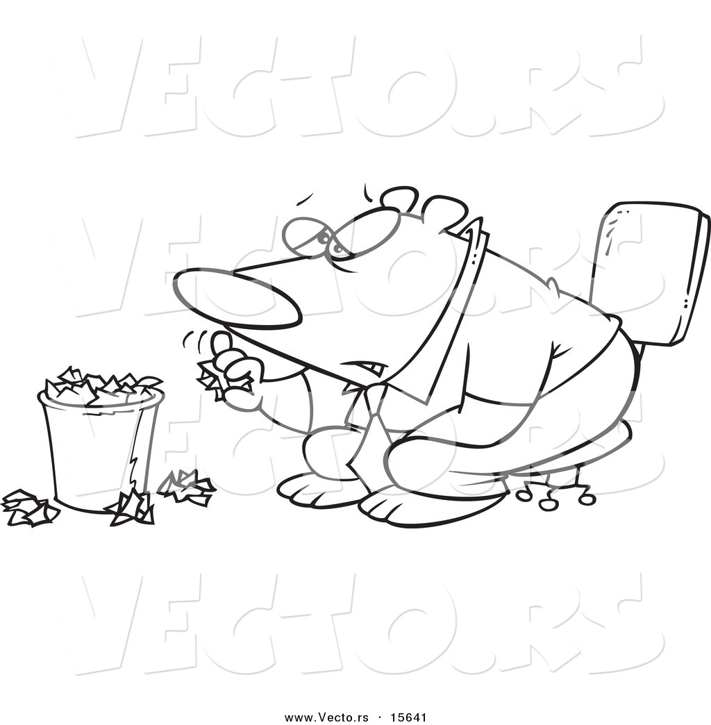 Larger Preview Vector Of A Cartoon Bored Business Bear Tossing Crumpled Paper In The Trash