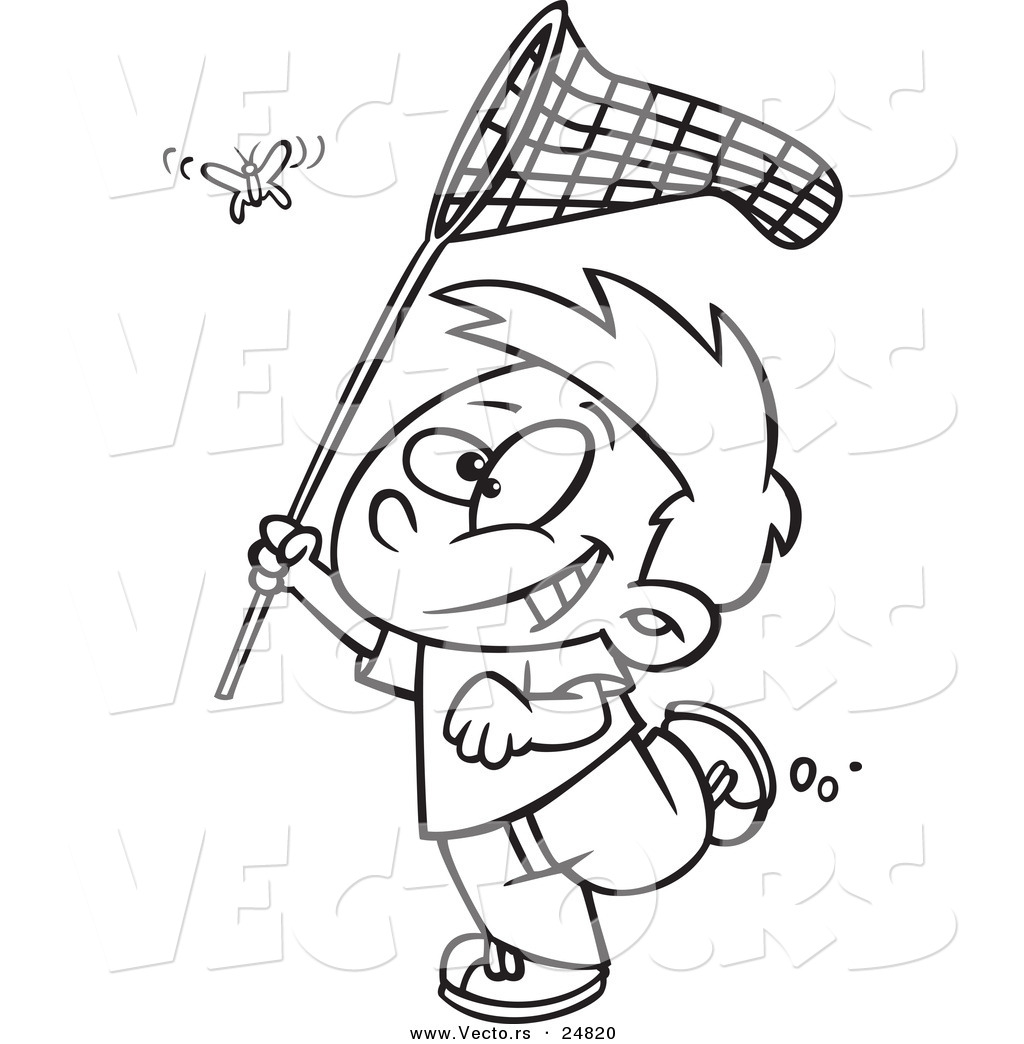 Vector Of A Cartoon Boy Chasing A Butterlfy With A Outlined