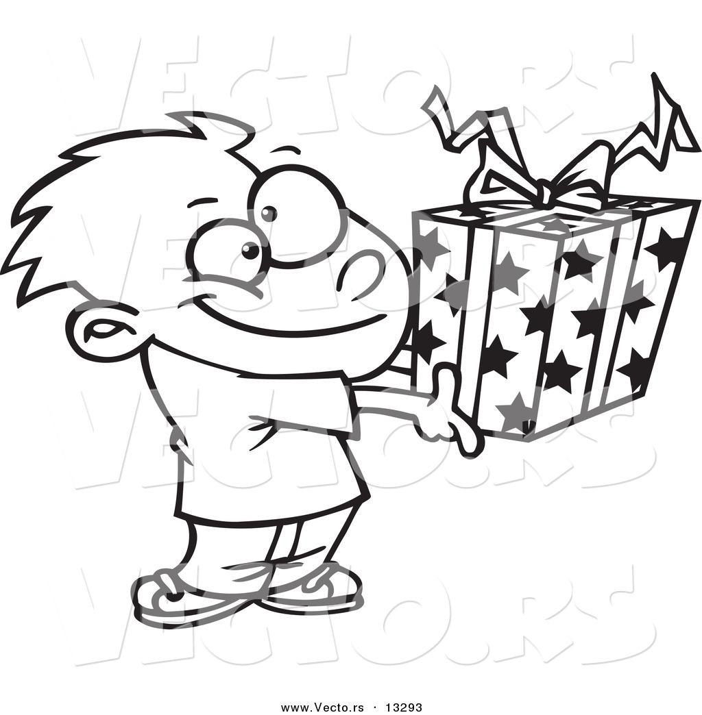 Vector Of A Cartoon Boy Holding A T Box
