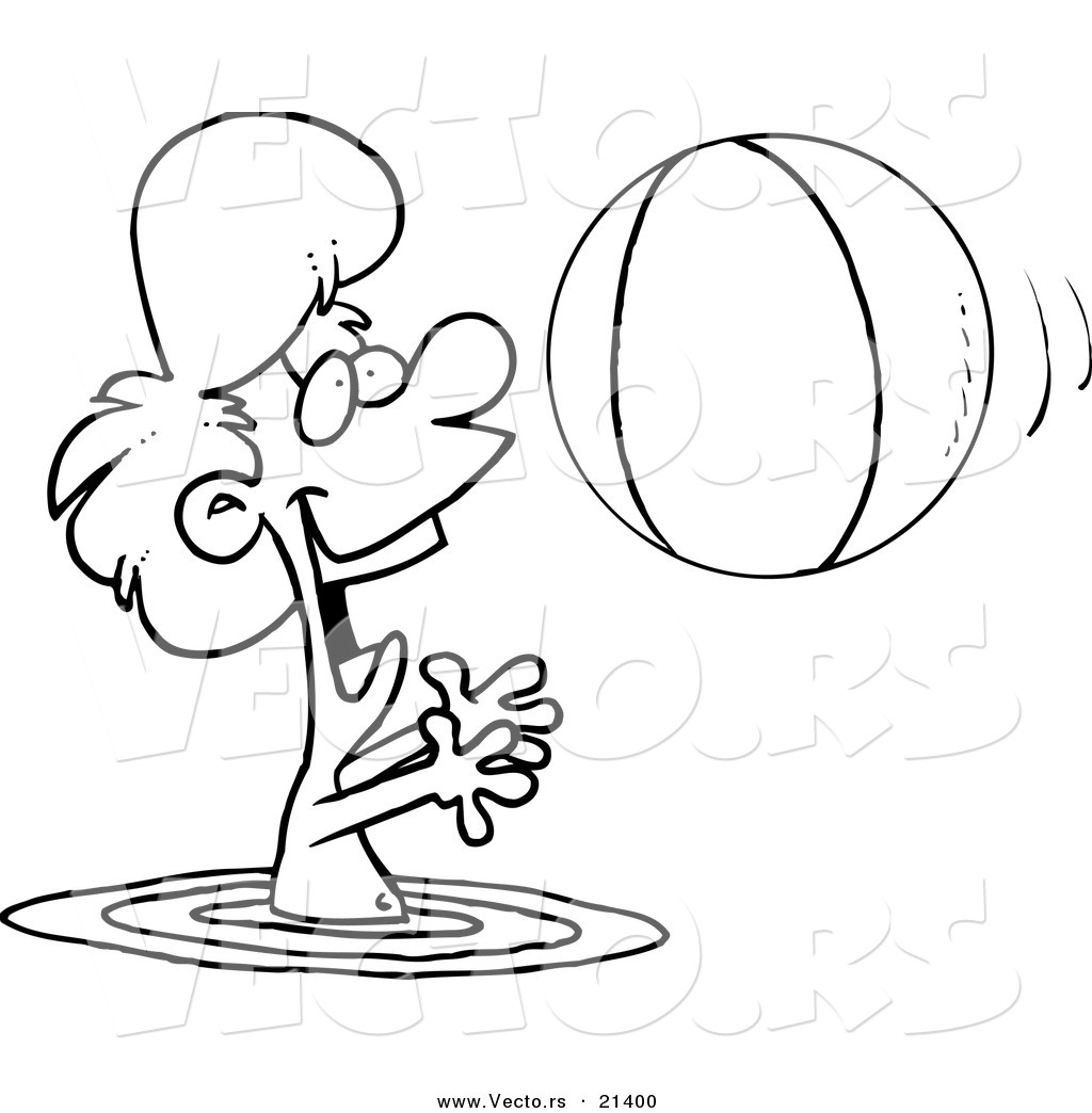 Vector Of A Cartoon Boy Playing With A Beach Ball In The