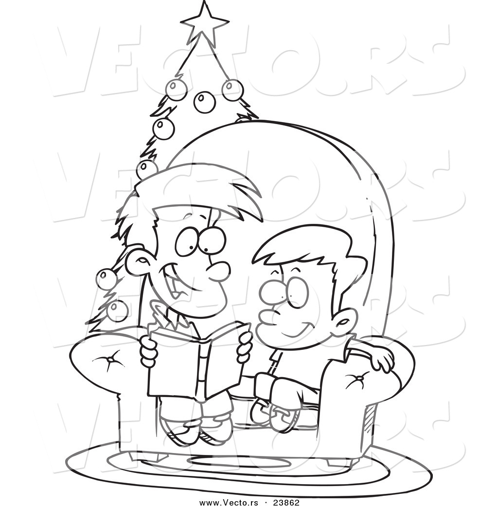 Vector Of A Cartoon Boy Reading A Christmas Story To His