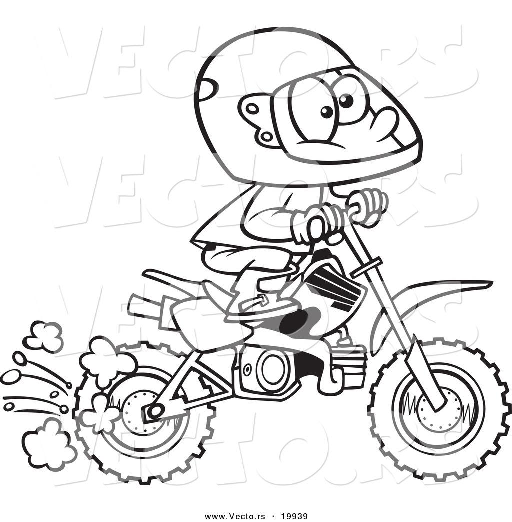 Vector Of A Cartoon Boy Riding A Dirt Bike