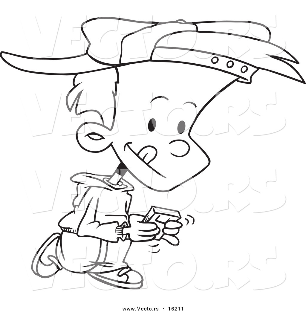 Vector Of A Cartoon Boy Walking And Playing A Video Game