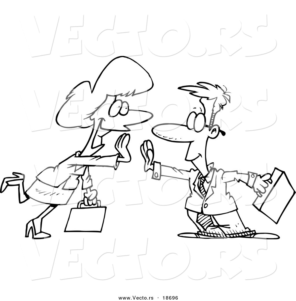 Vector Of A Cartoon Businessman And Woman Giving High