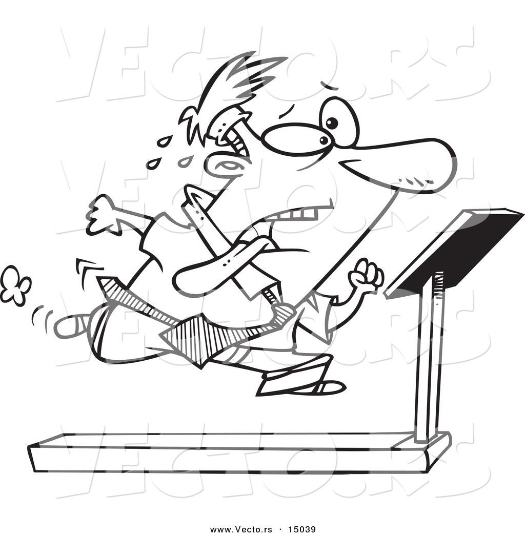 Vector Of A Cartoon Businessman Running On A Treadmill In