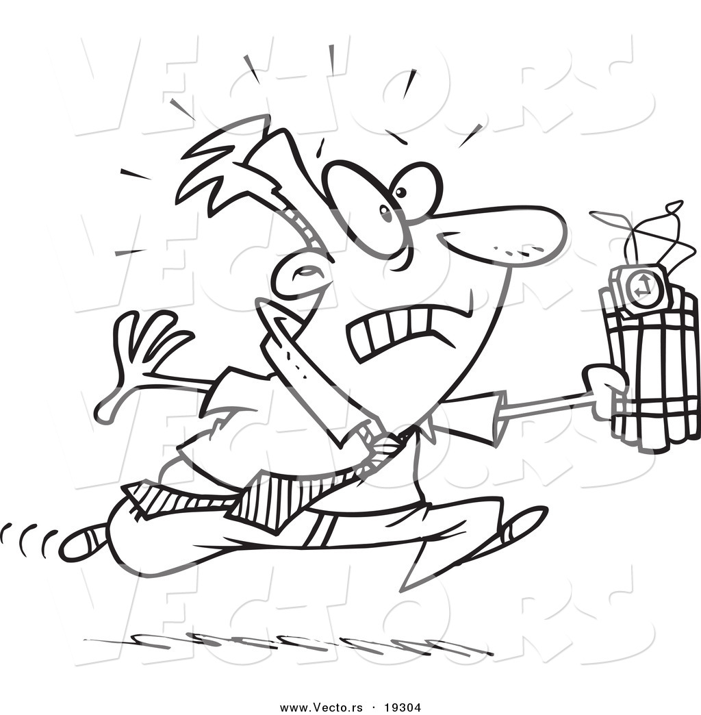 Vector Of A Cartoon Businessman Running With Dynamite
