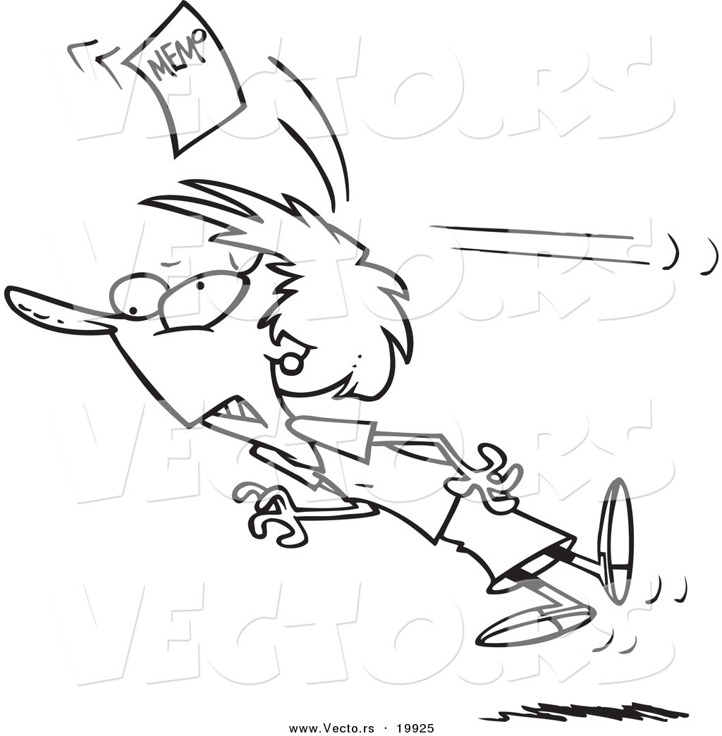 Vector Of A Cartoon Businesswoman Being Knocked Out With A Memo
