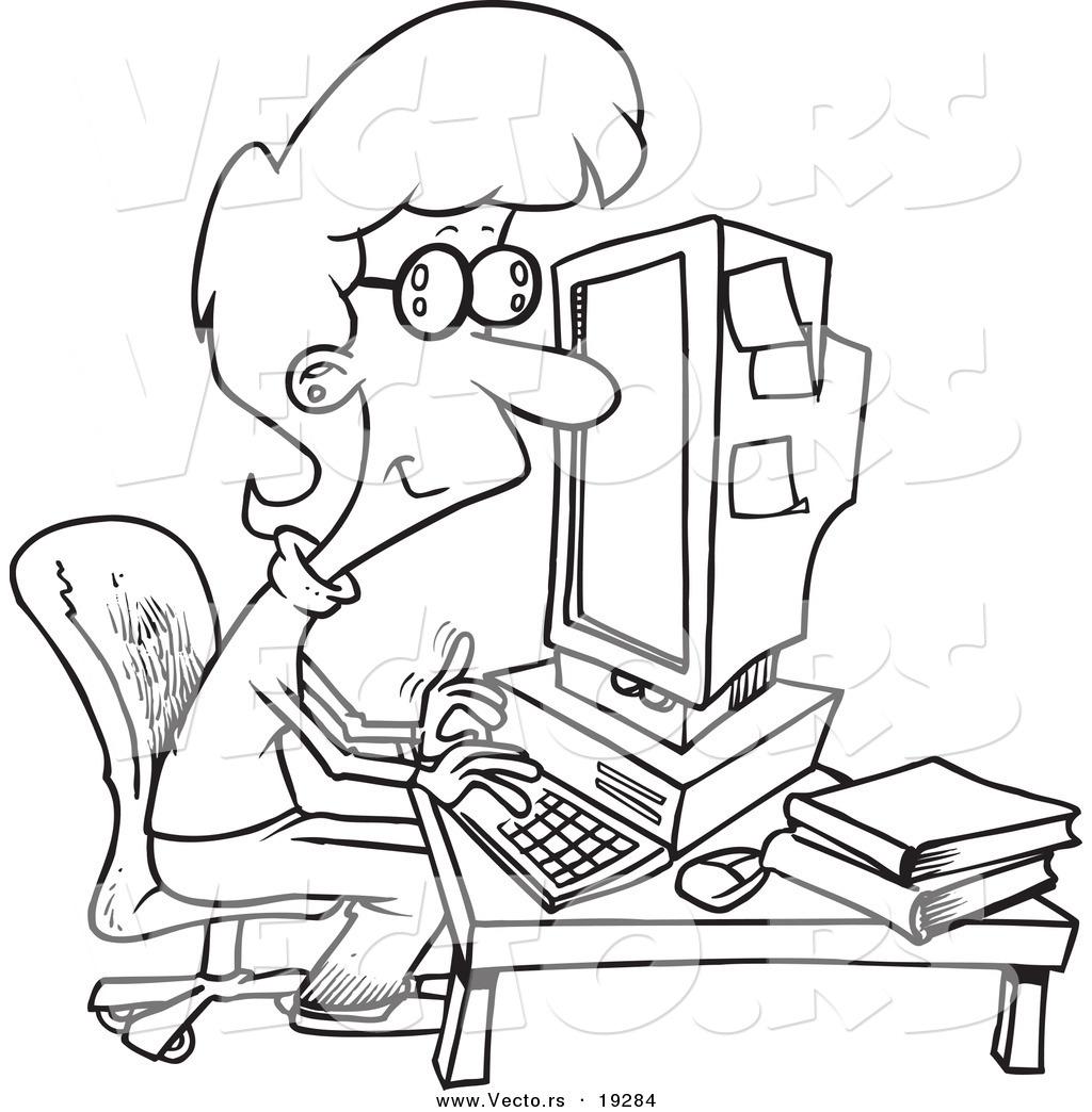 Vector Of A Cartoon Businesswoman Working On A Computer