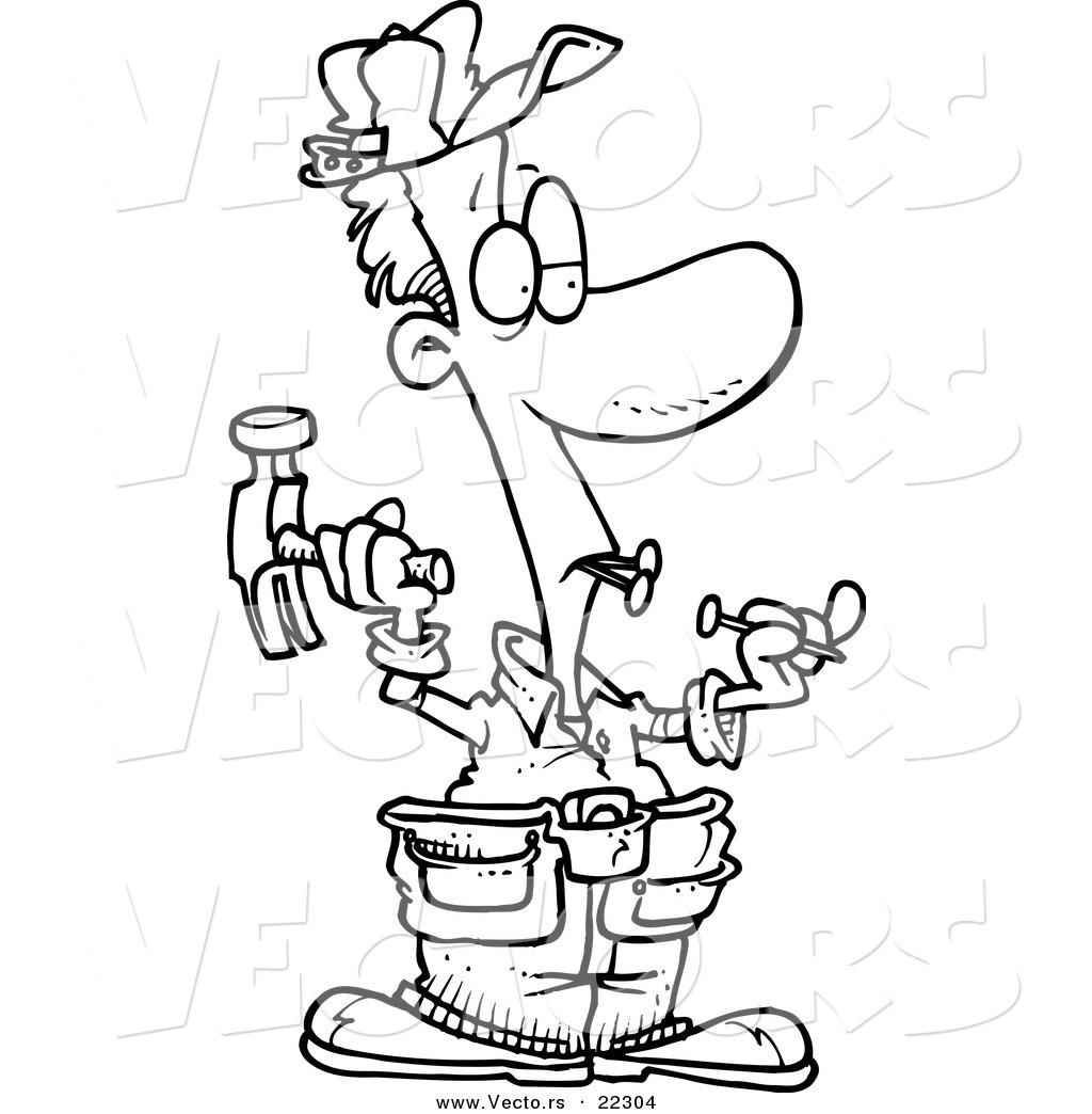 Vector Of A Cartoon Carpenter Holding Nails In His Teeth