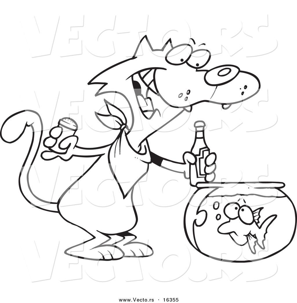 Vector Of A Cartoon Cat Seasoning A Goldfish With Ketchup