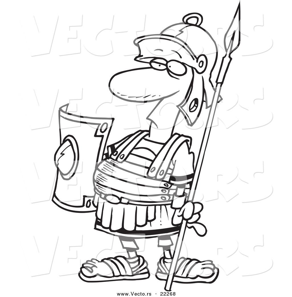 Vector Of A Cartoon Centurion Guard