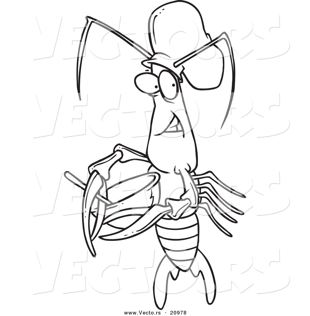 Vector Of A Cartoon Chef Crawdad Using A Mixing Bowl