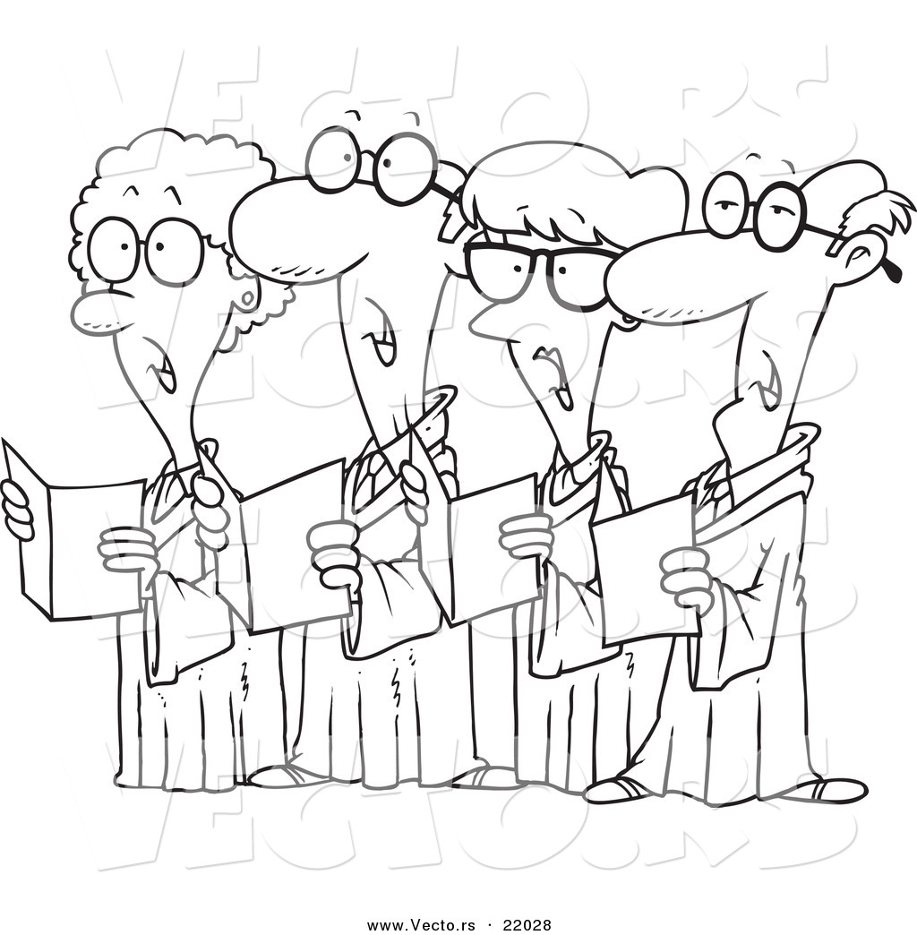 Vector Of A Cartoon Choir Of Seniors
