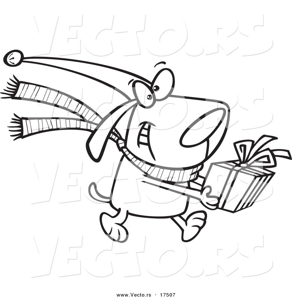 Vector Of A Cartoon Christmas Dog Carrying A Present