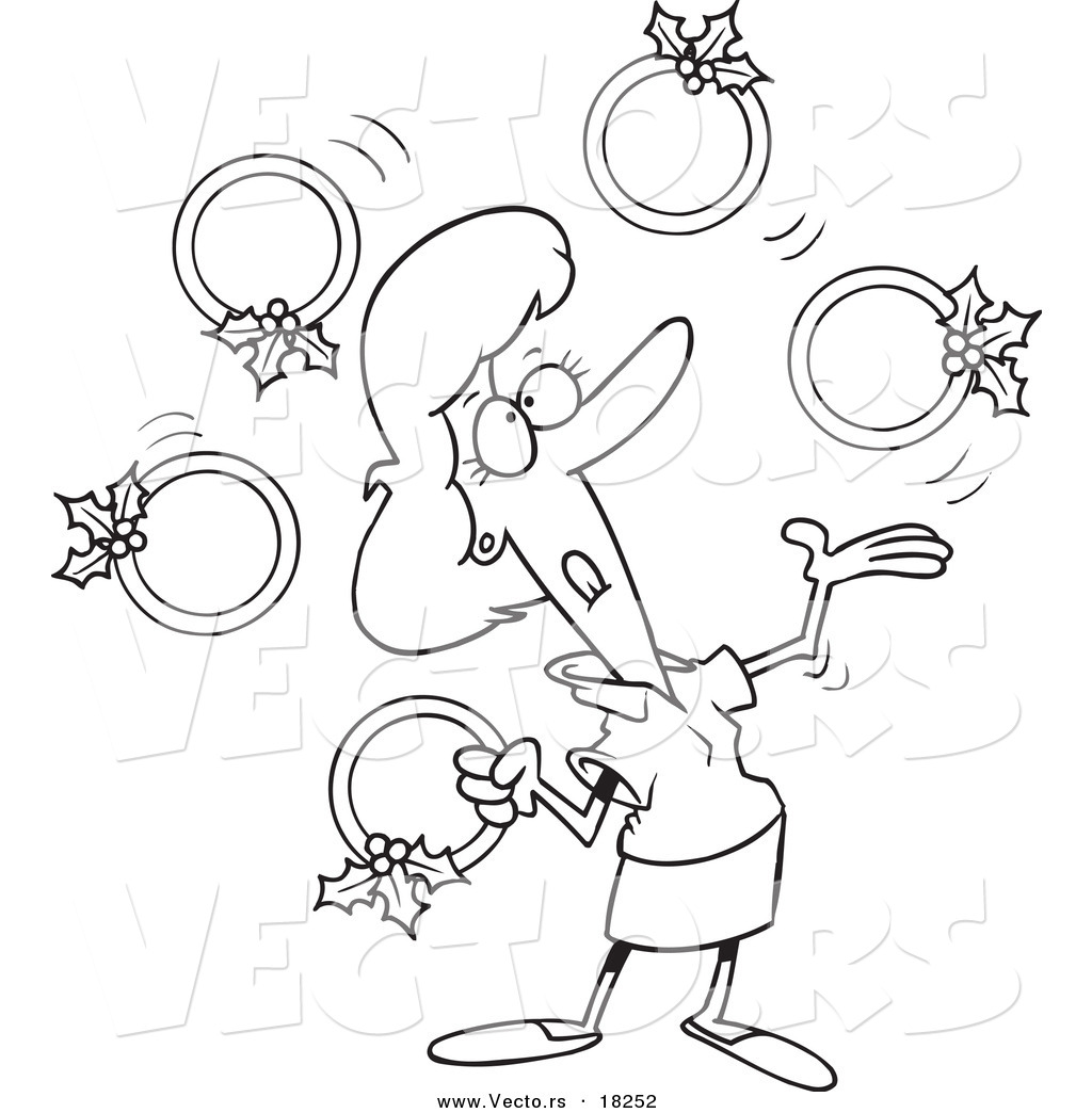 Vector Of A Cartoon Christmas Woman Juggling Five Golden