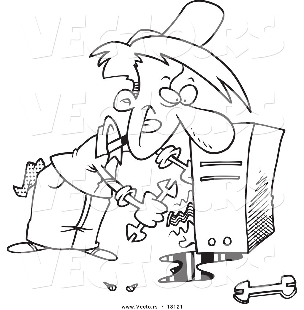 Vector Of A Cartoon Computer Repair Man Working On Wires