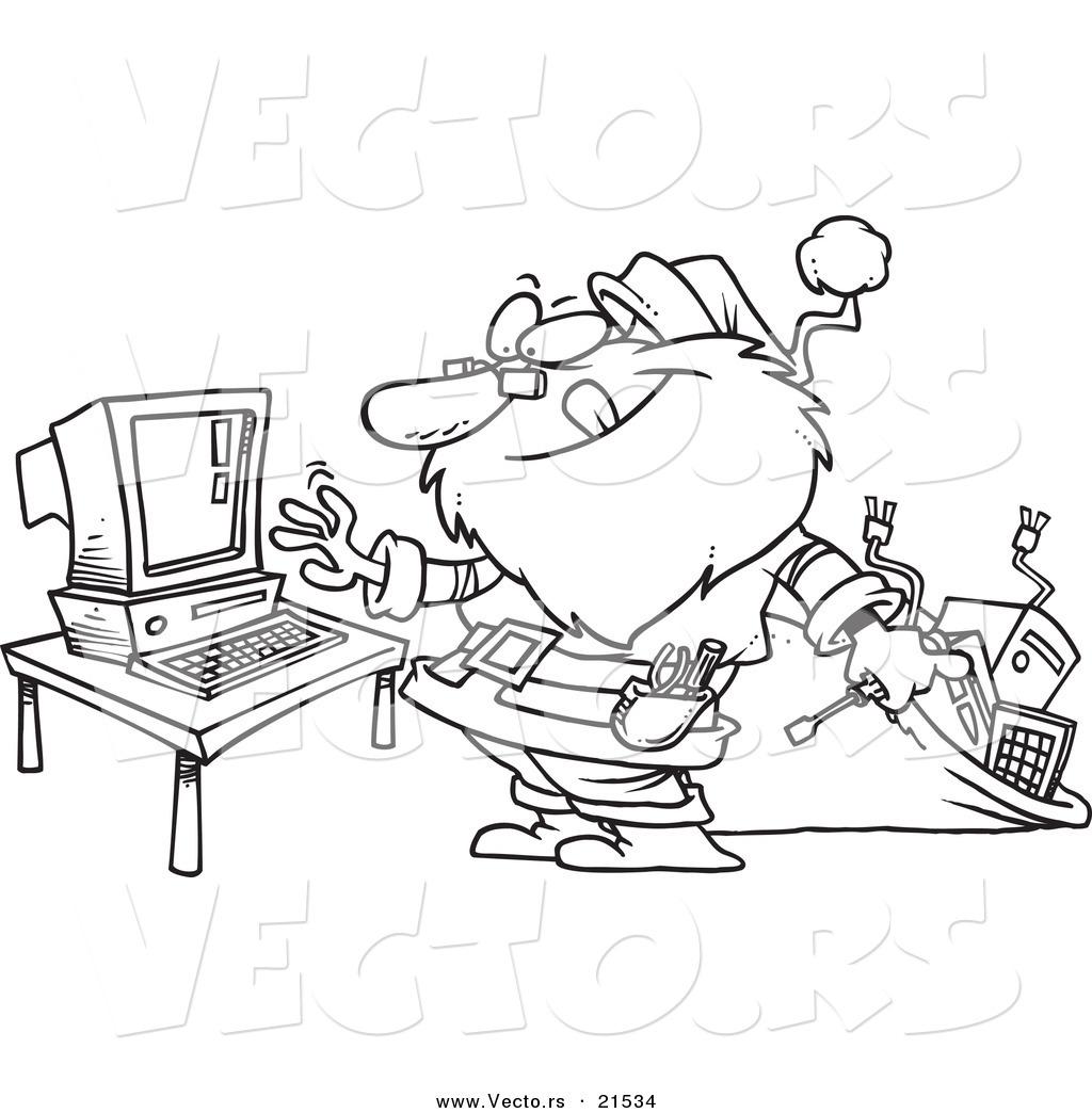 Vector Of A Cartoon Computer Repair Santa