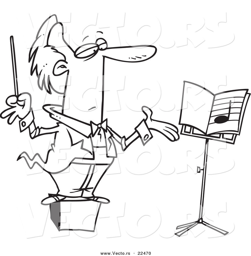 Vector Of A Cartoon Conductor On A Podium