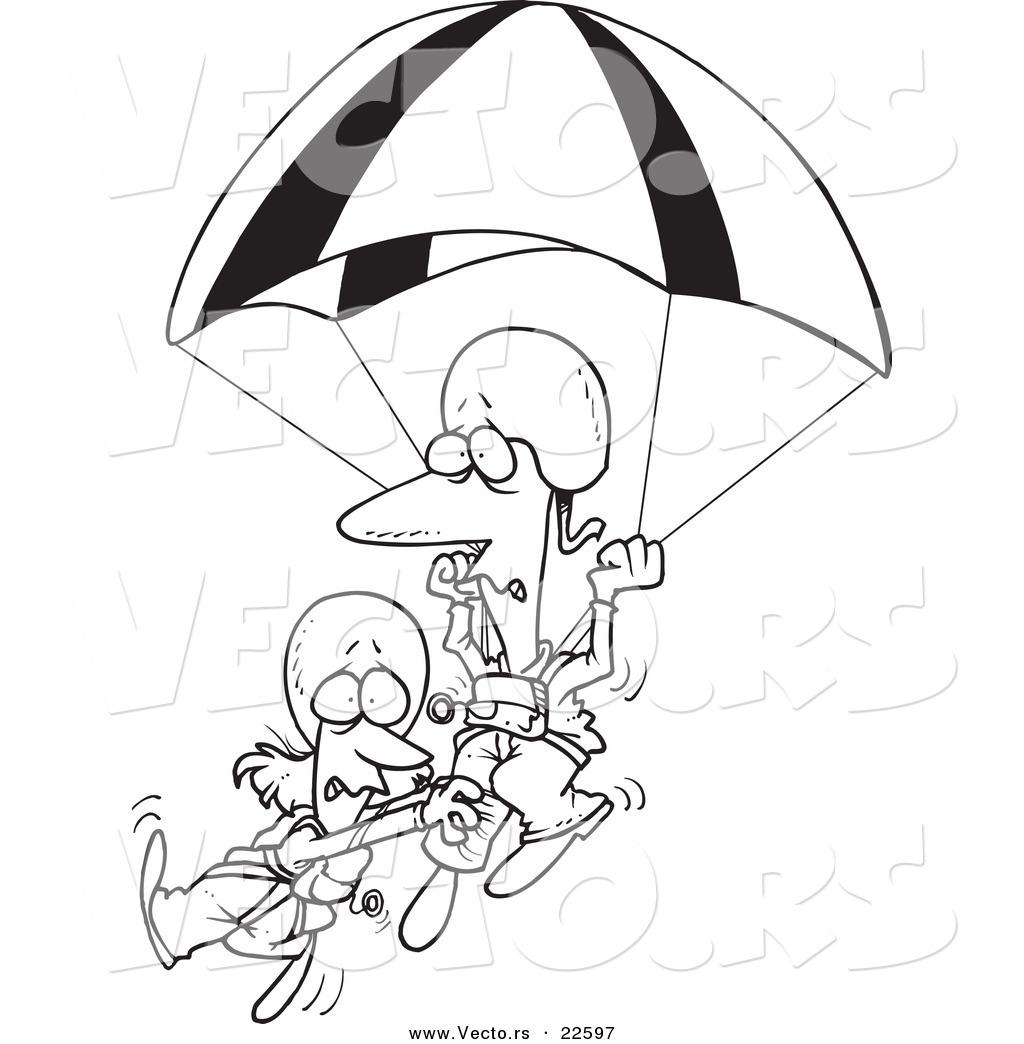 Vector Of A Cartoon Couple Parachuting