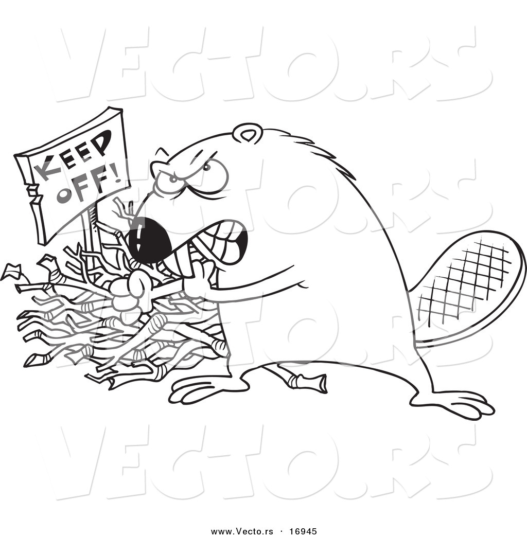 Vector Of A Cartoon Defensive Beaver Guarding His Stick