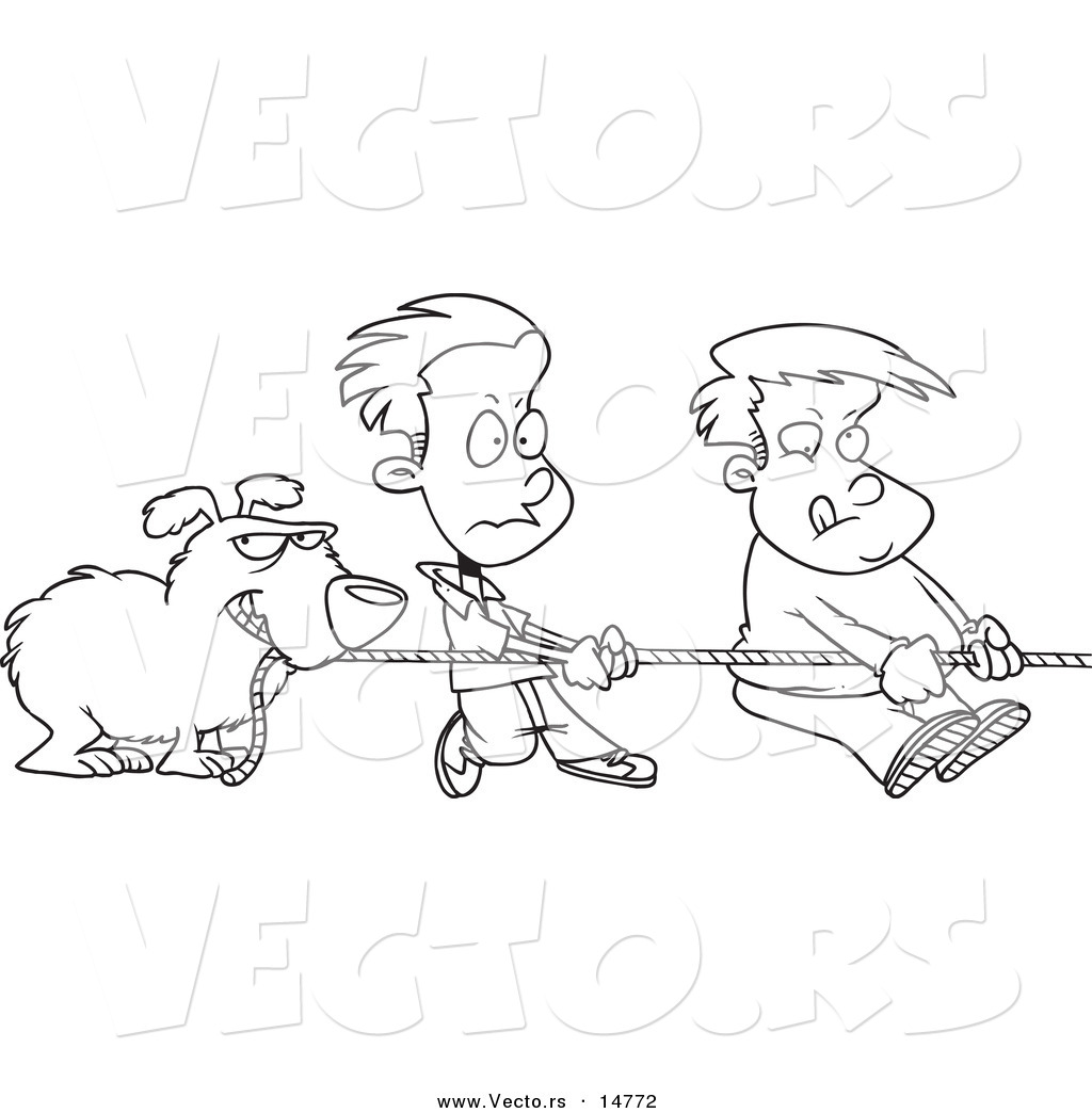 Vector Of A Cartoon Dog And Boys Tugging On A Rope