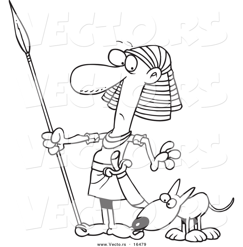 Vector Of A Cartoon Dog Sniffing An Egyptian Guard S Foot