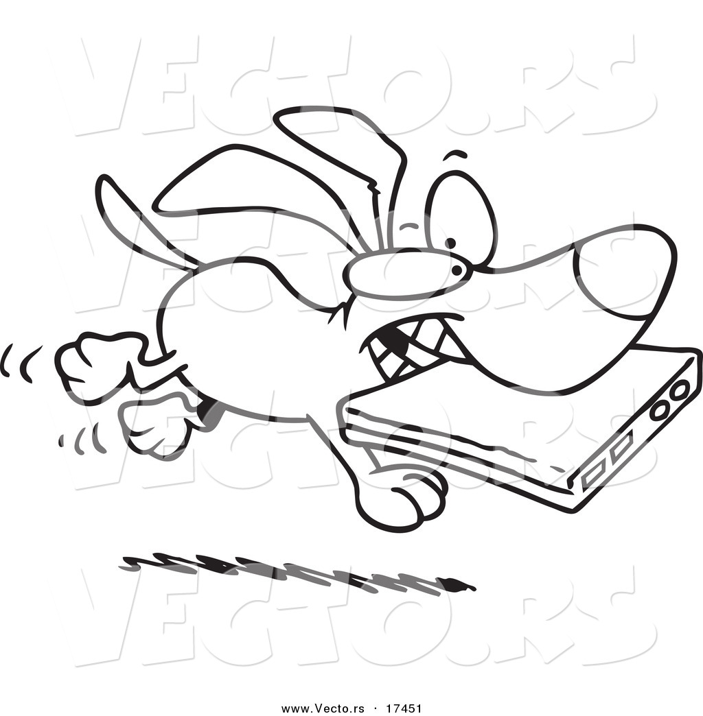 Vector Of A Cartoon Dog Stealing A Laptop