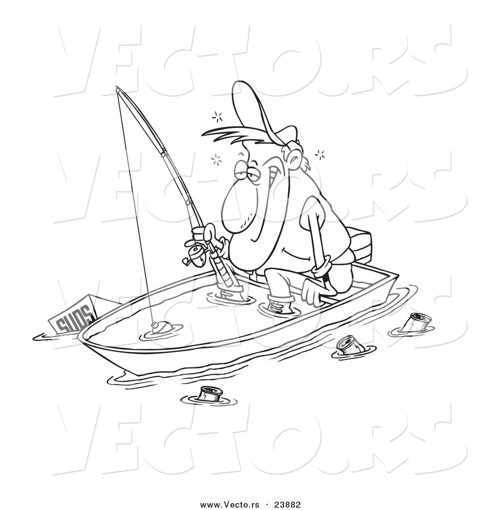 Vector Of A Cartoon Drunk Man Fishing In A Sinking Boat Coloring