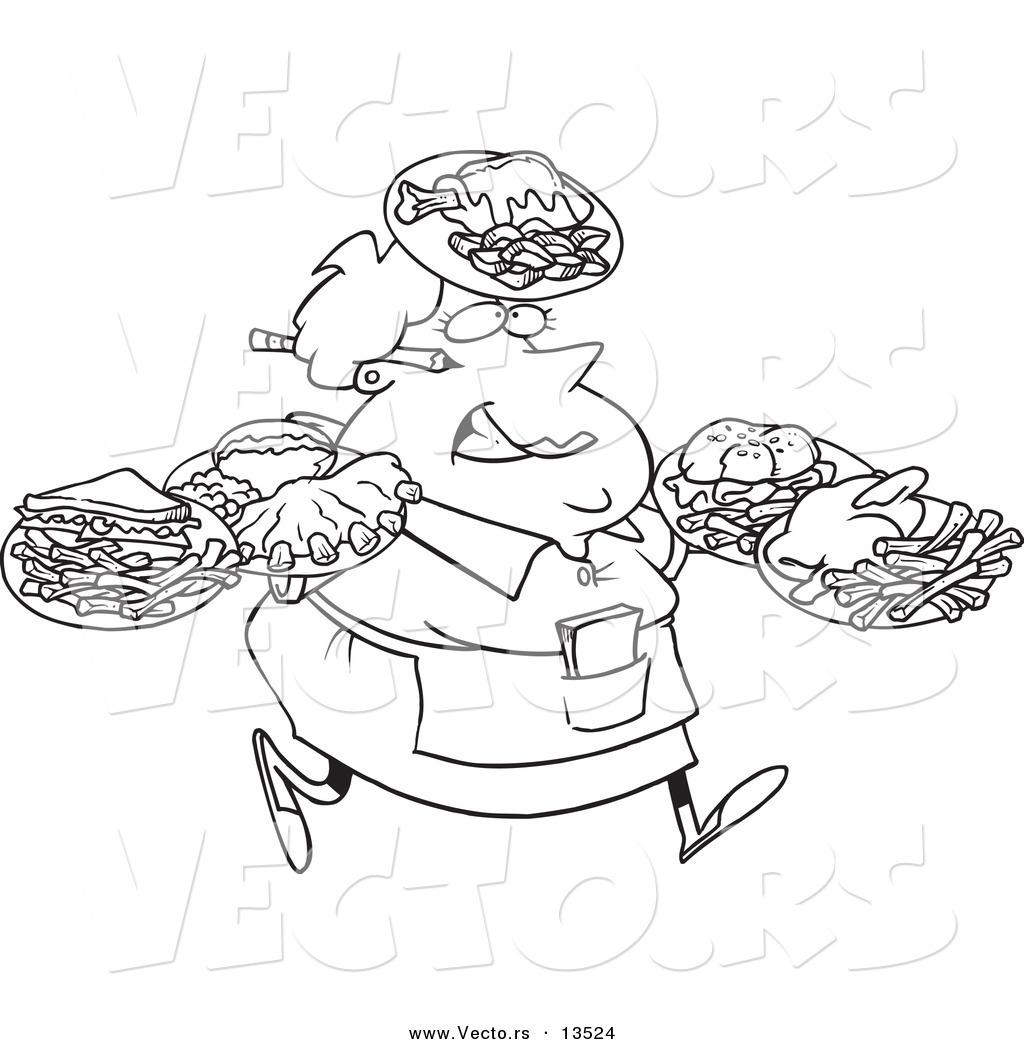 Vector Of A Cartoon Fat Female Waitress Carrying Many Plates