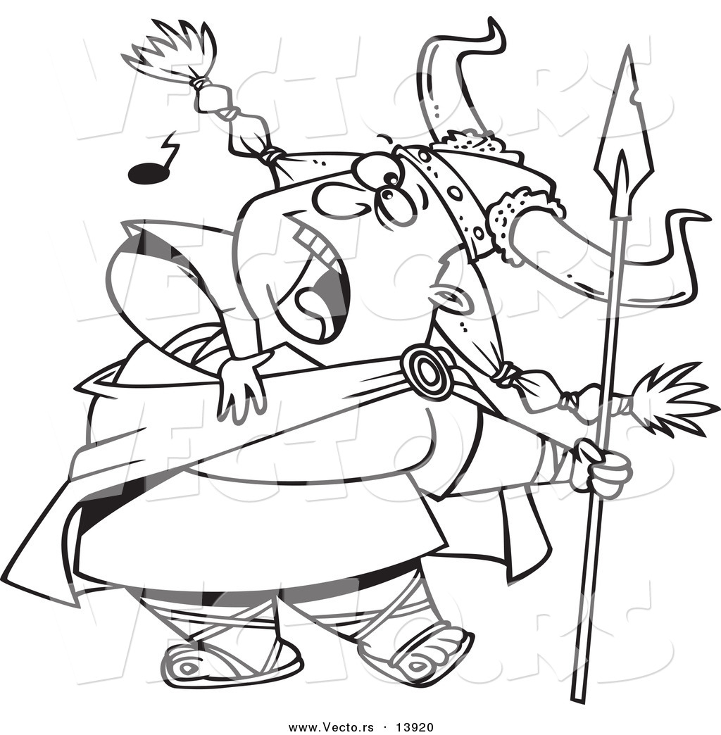 Vector Of A Cartoon Female Viking Singing A Song And Holding A