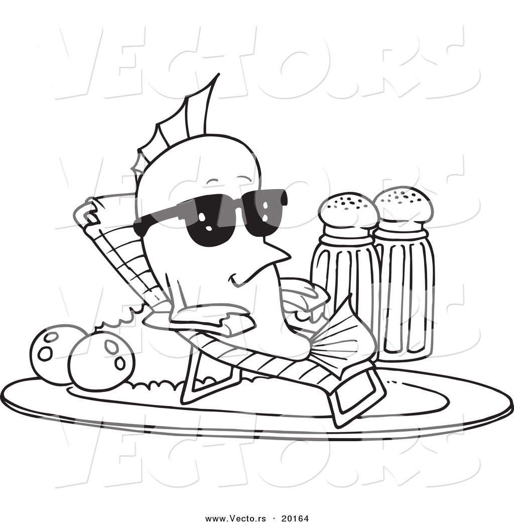Vector Of A Cartoon Fish Relaxing On A Plate