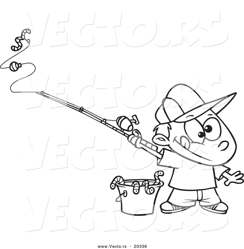 Vector Of A Cartoon Fishing Boy With A Bucket Of Worms Coloring