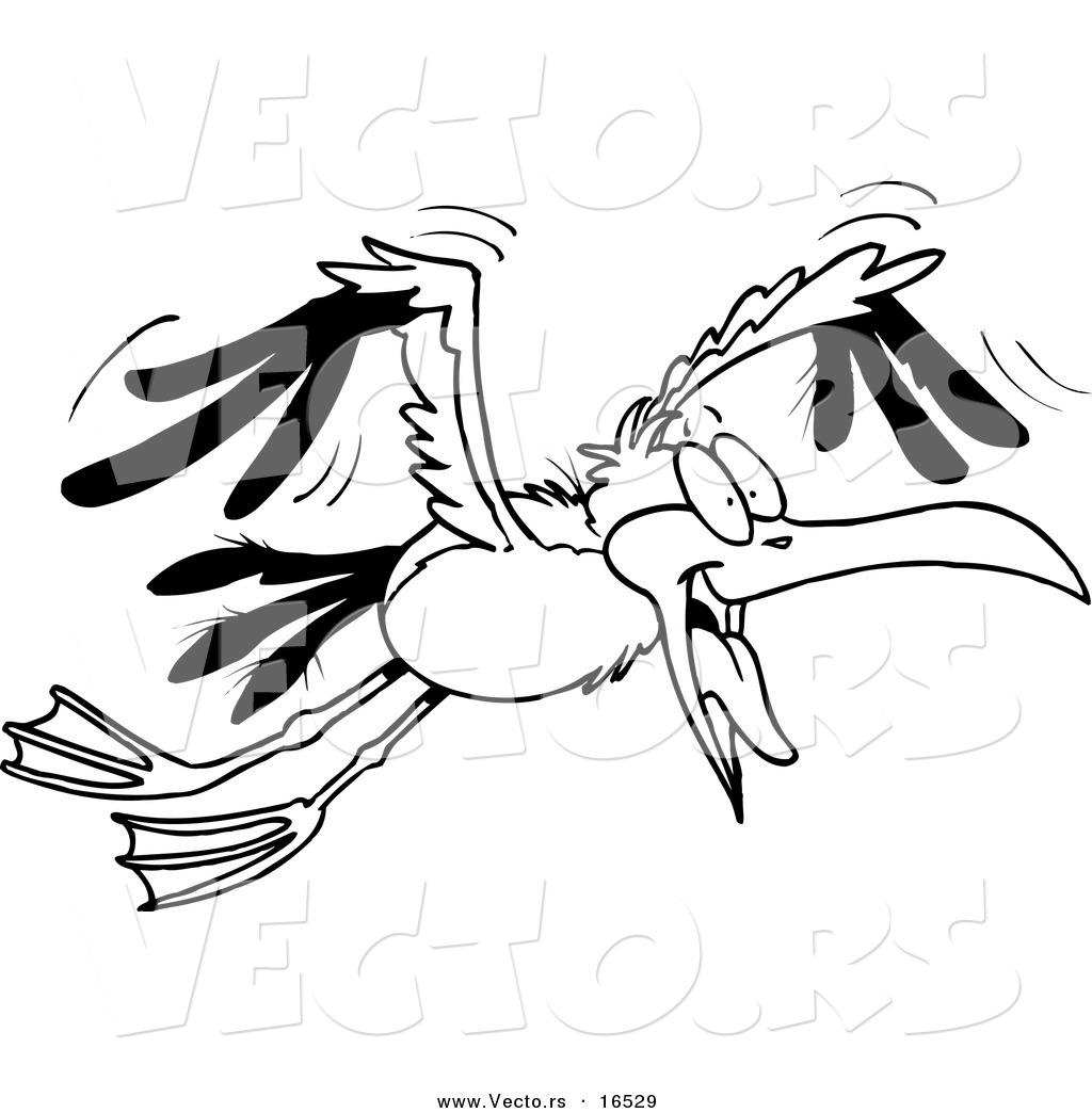 Vector Of A Cartoon Flying Gull