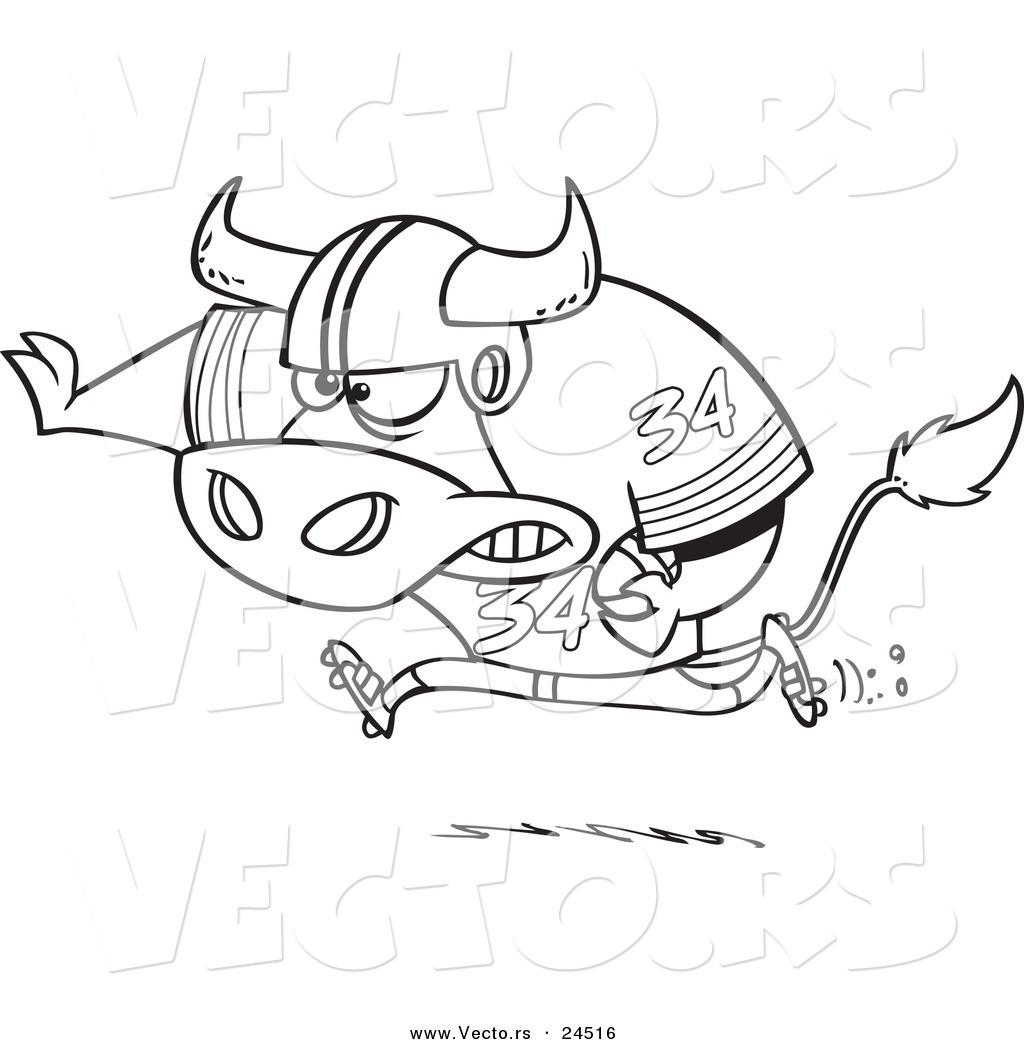Vector Of A Cartoon Football Bull Running