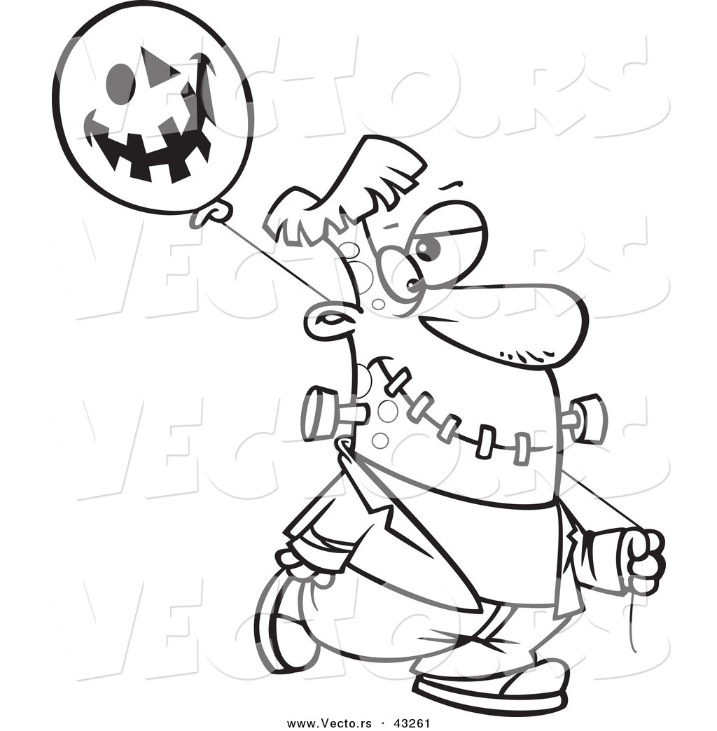 Vector Of A Cartoon Frankenstein Walking With A Halloween