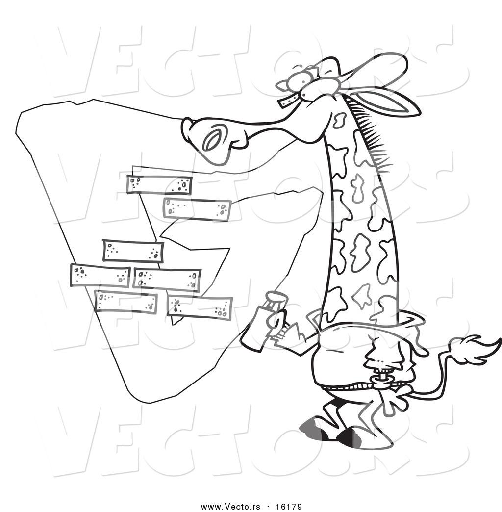 Vector Of A Cartoon Giraffe Spray Painting A G On A Wall