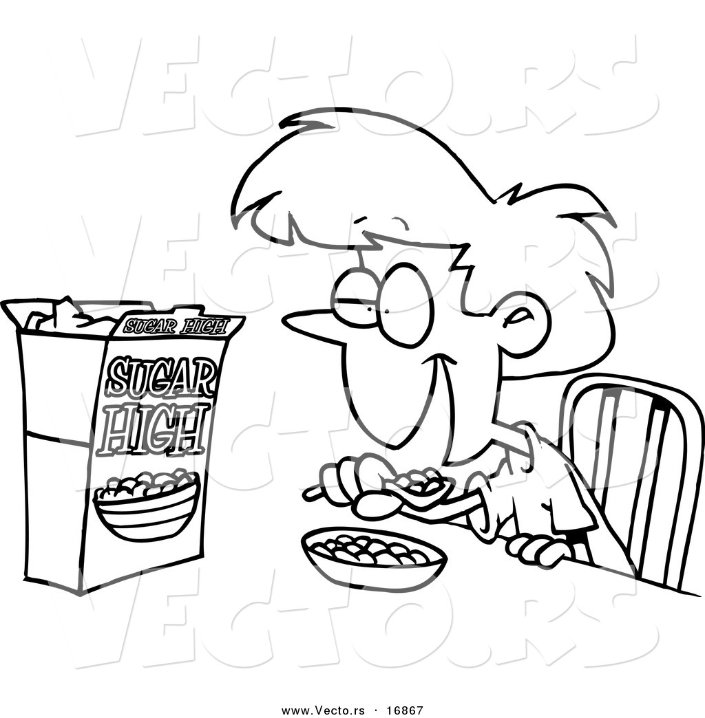 Vector Of A Cartoon Girl Eating Sugary Cereal