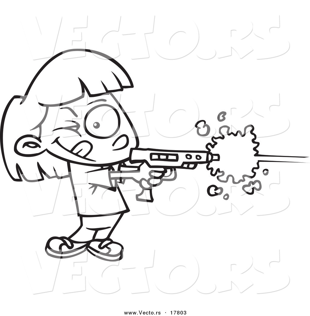 Vector Of A Cartoon Girl Playing Laser Tag