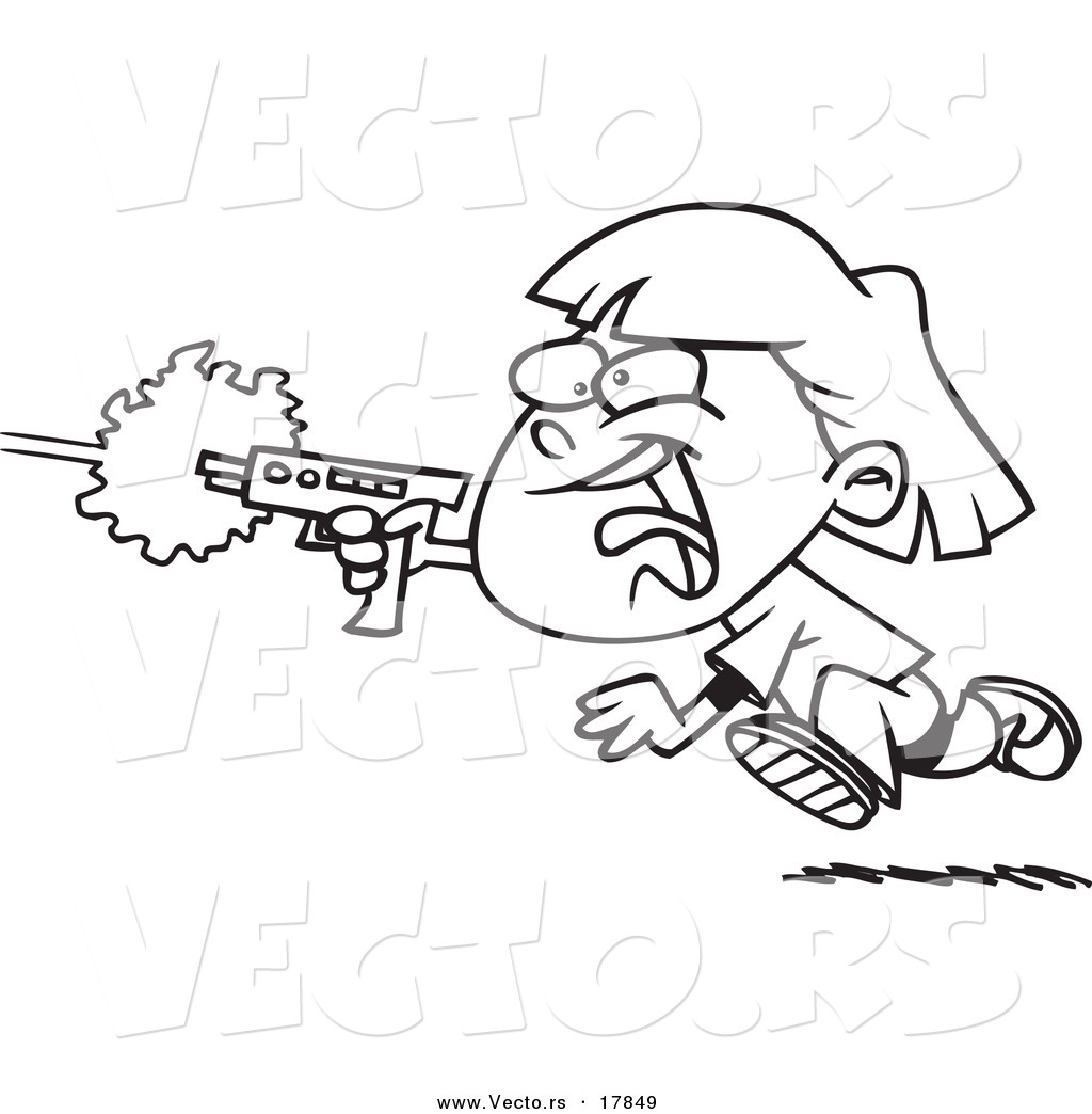Vector Of A Cartoon Girl Shooting A Gun And Playing Laser