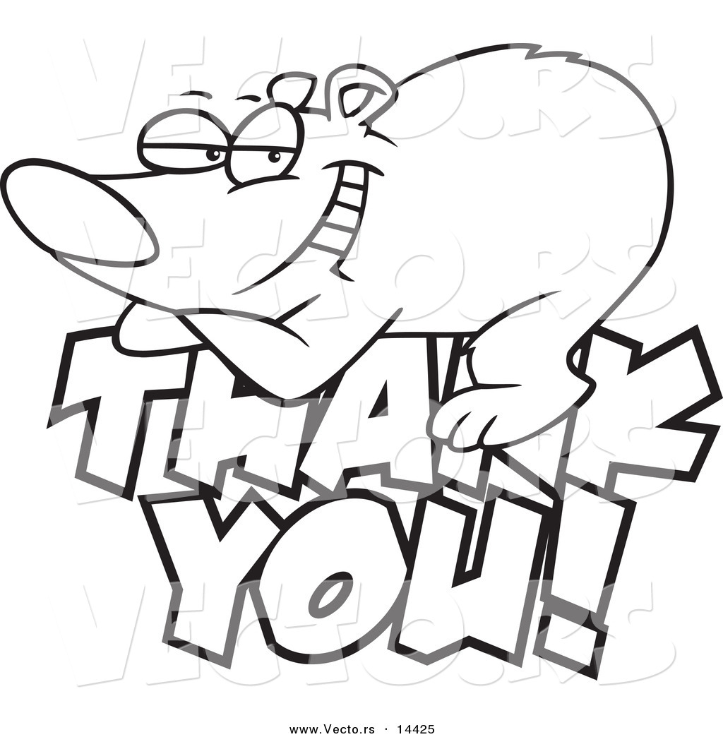Vector Of A Cartoon Grateful Bear Resting On Thank You