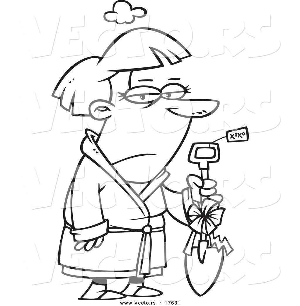 Vector Of A Cartoon Grumpy Woman Holding A Shovel As A
