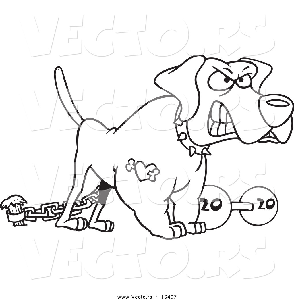 Vector Of A Cartoon Guard Dog With A Dumbbell