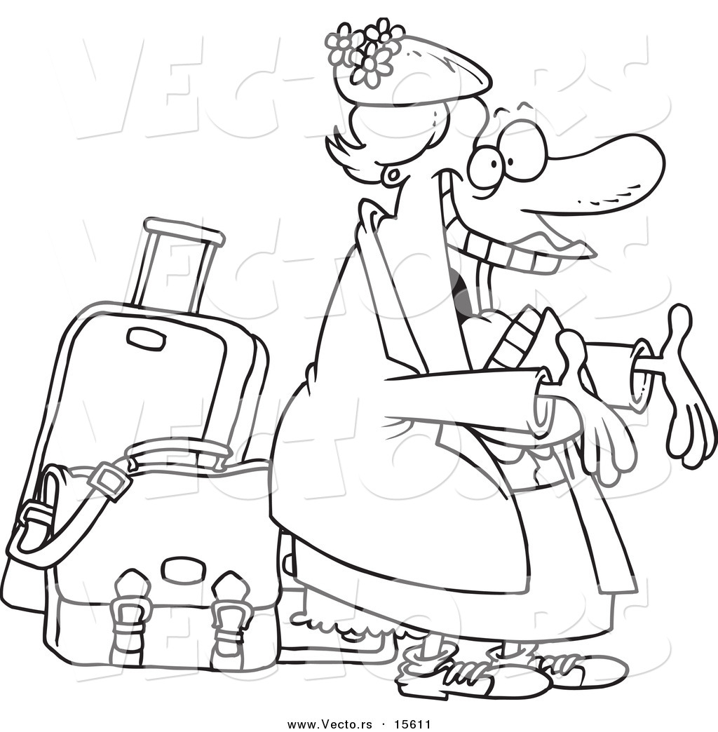 Vector Of A Cartoon Happy Auntie Greeting By Her Luggage