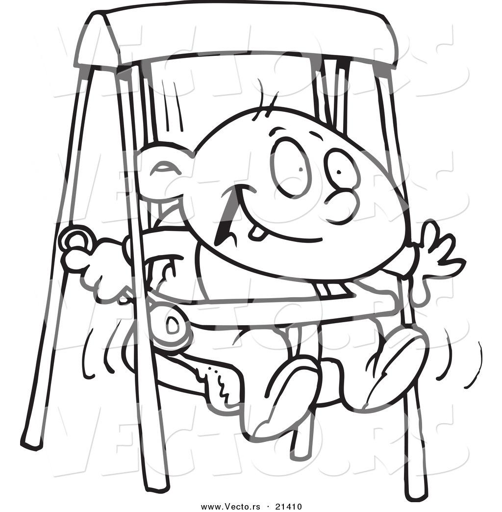 Vector Of A Cartoon Happy Baby Boy In A Swing