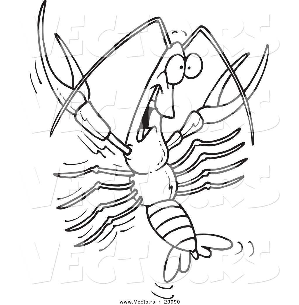 Vector Of A Cartoon Happy Crawdad