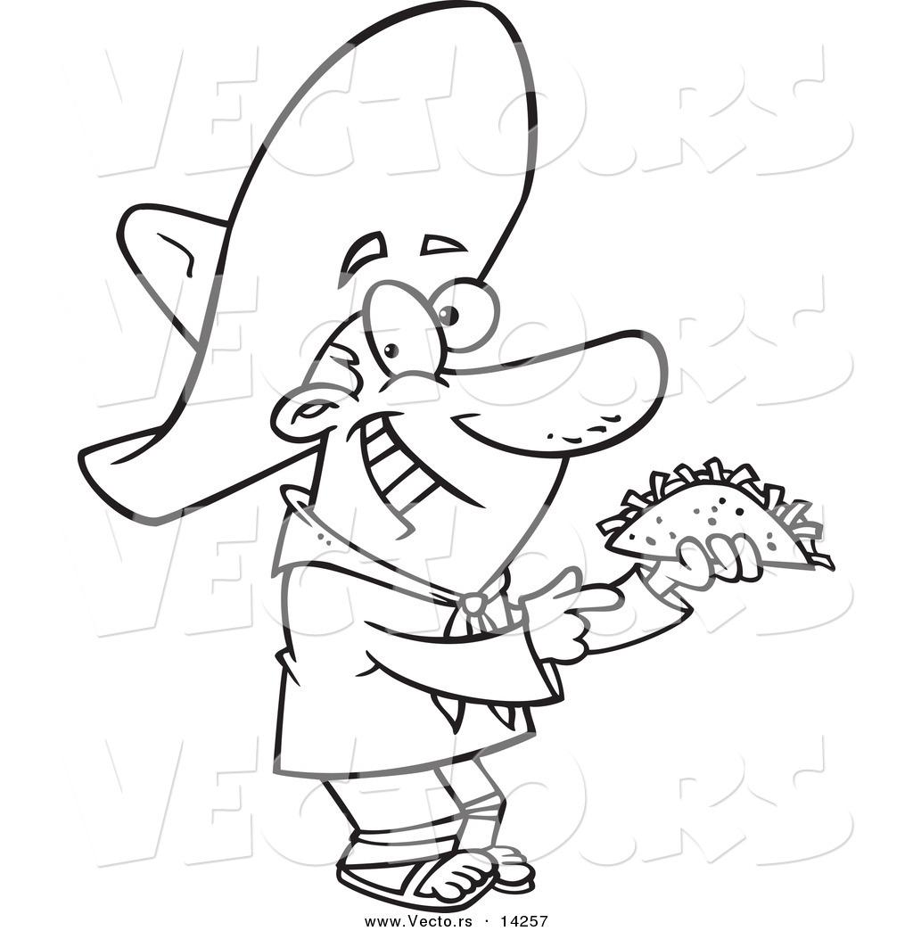 Vector Of A Cartoon Happy Hispanic Man Holding A Taco