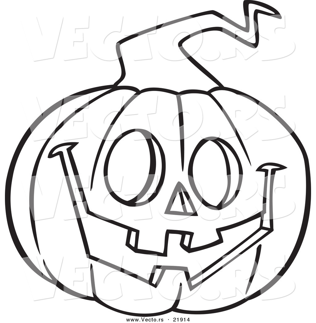 Vector Of A Cartoon Happy Jackolantern
