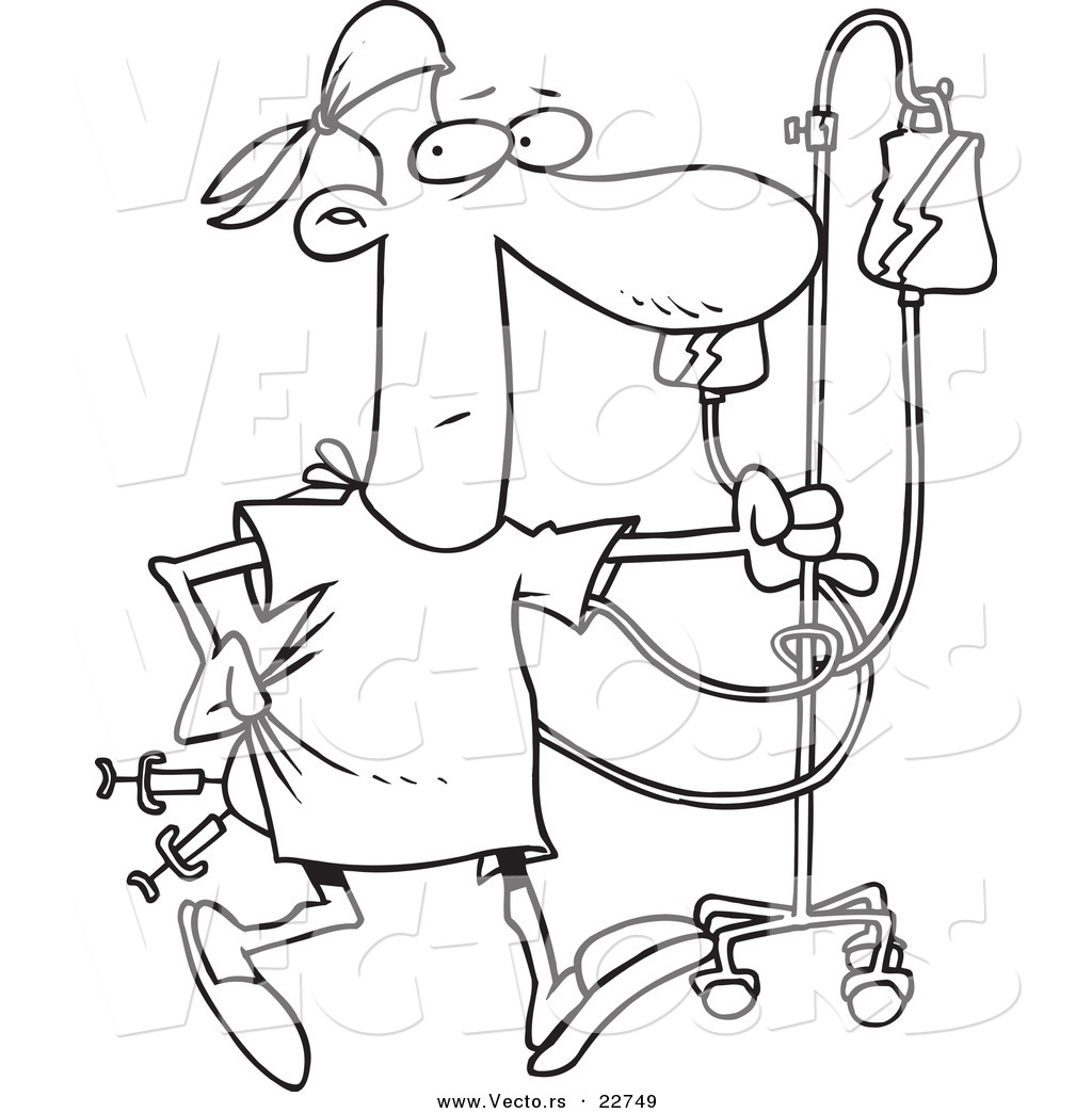 Vector Of A Cartoon Hospital Patient With Needles In His
