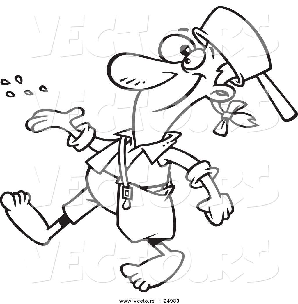 Vector Of A Cartoon Johnny Appleseed Tossing Seeds